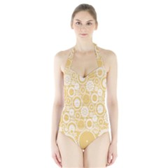 Wheels Star Gold Circle Yellow Halter Swimsuit by Alisyart