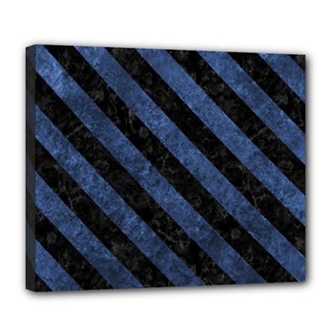 Stripes3 Black Marble & Blue Stone (r) Deluxe Canvas 24  X 20  (stretched) by trendistuff