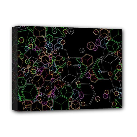 Boxs Black Background Pattern Deluxe Canvas 16  X 12