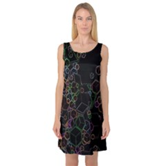 Boxs Black Background Pattern Sleeveless Satin Nightdress by Simbadda