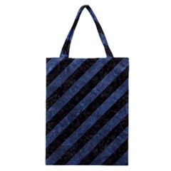Stripes3 Black Marble & Blue Stone Classic Tote Bag by trendistuff