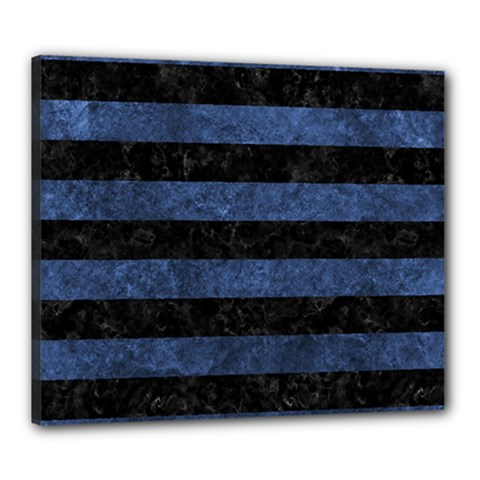 Stripes2 Black Marble & Blue Stone Canvas 24  X 20  (stretched) by trendistuff