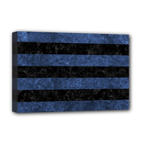 Stripes2 Black Marble & Blue Stone Deluxe Canvas 18  X 12  (stretched) by trendistuff