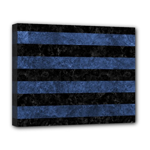 Stripes2 Black Marble & Blue Stone Deluxe Canvas 20  X 16  (stretched) by trendistuff