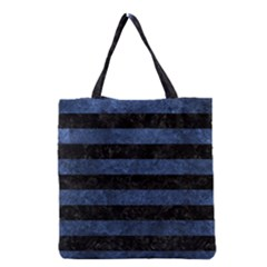 Stripes2 Black Marble & Blue Stone Grocery Tote Bag by trendistuff