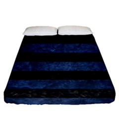 Stripes2 Black Marble & Blue Stone Fitted Sheet (queen Size) by trendistuff