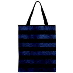 Stripes2 Black Marble & Blue Stone Zipper Classic Tote Bag by trendistuff