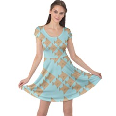 Fish Animals Brown Blue Line Sea Beach Cap Sleeve Dresses by Alisyart