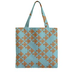 Fish Animals Brown Blue Line Sea Beach Zipper Grocery Tote Bag