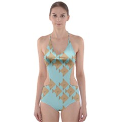 Fish Animals Brown Blue Line Sea Beach Cut Out One Piece Swimsuit