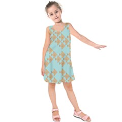 Fish Animals Brown Blue Line Sea Beach Kids  Sleeveless Dress by Alisyart