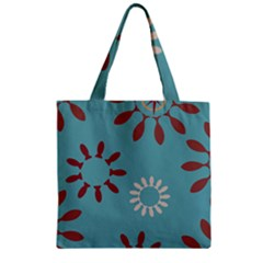 Fish Animals Star Brown Blue White Zipper Grocery Tote Bag