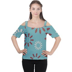 Fish Animals Star Brown Blue White Women s Cutout Shoulder Tee