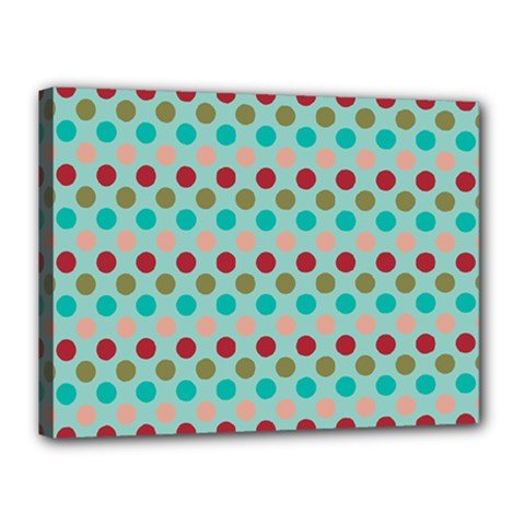 Large Circle Rainbow Dots Color Red Blue Pink Canvas 16  X 12  by Alisyart
