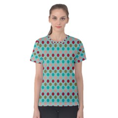 Large Circle Rainbow Dots Color Red Blue Pink Women s Cotton Tee