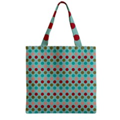 Large Circle Rainbow Dots Color Red Blue Pink Grocery Tote Bag