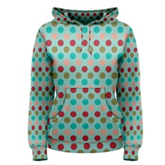 Large Circle Rainbow Dots Color Red Blue Pink Women s Pullover Hoodie