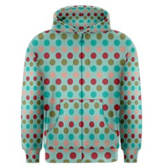 Large Circle Rainbow Dots Color Red Blue Pink Men s Zipper Hoodie