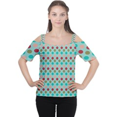 Large Circle Rainbow Dots Color Red Blue Pink Women s Cutout Shoulder Tee