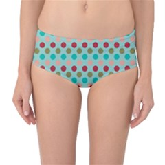 Large Circle Rainbow Dots Color Red Blue Pink Mid Waist Bikini Bottoms