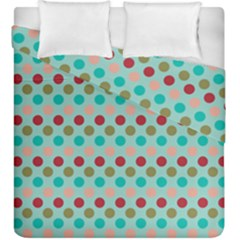 Large Circle Rainbow Dots Color Red Blue Pink Duvet Cover Double Side (king Size) by Alisyart