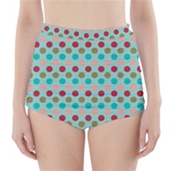 Large Circle Rainbow Dots Color Red Blue Pink High-waisted Bikini Bottoms by Alisyart