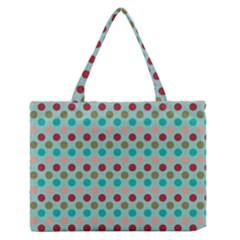 Large Circle Rainbow Dots Color Red Blue Pink Medium Zipper Tote Bag by Alisyart