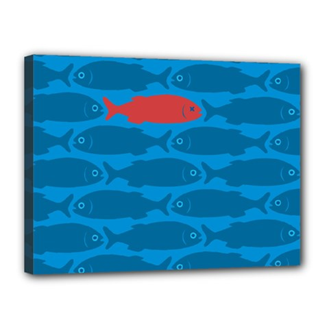Fish Line Sea Beach Swim Red Blue Canvas 16  X 12