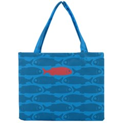 Fish Line Sea Beach Swim Red Blue Mini Tote Bag by Alisyart