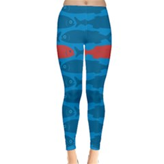 Fish Line Sea Beach Swim Red Blue Classic Winter Leggings