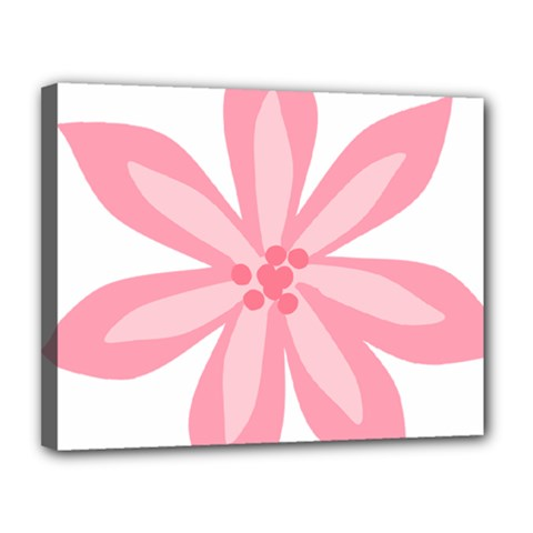 Pink Lily Flower Floral Canvas 14  X 11  by Alisyart