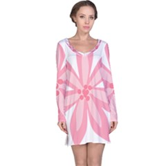 Pink Lily Flower Floral Long Sleeve Nightdress