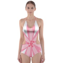 Pink Lily Flower Floral Cut Out One Piece Swimsuit