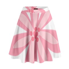 Pink Lily Flower Floral High Waist Skirt