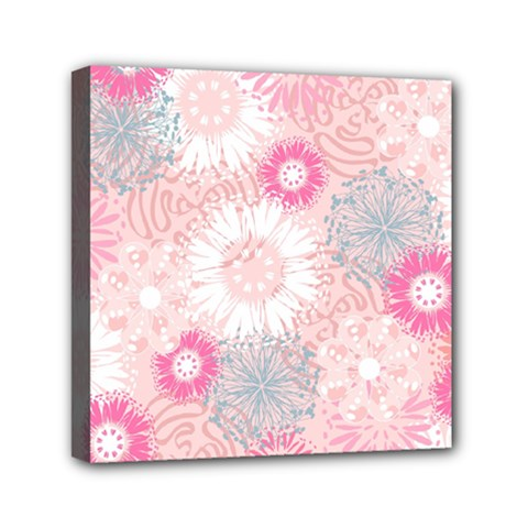 Flower Floral Sunflower Rose Pink Mini Canvas 6  X 6