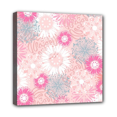 Flower Floral Sunflower Rose Pink Mini Canvas 8  X 8