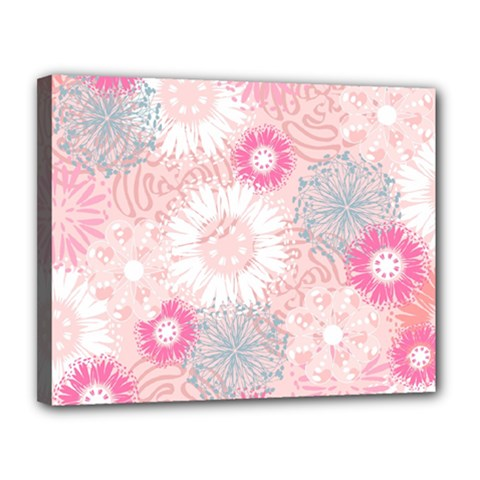 Flower Floral Sunflower Rose Pink Canvas 14  X 11  by Alisyart