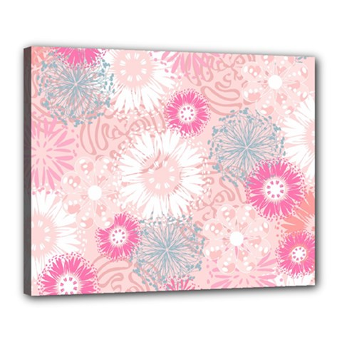 Flower Floral Sunflower Rose Pink Canvas 20  X 16