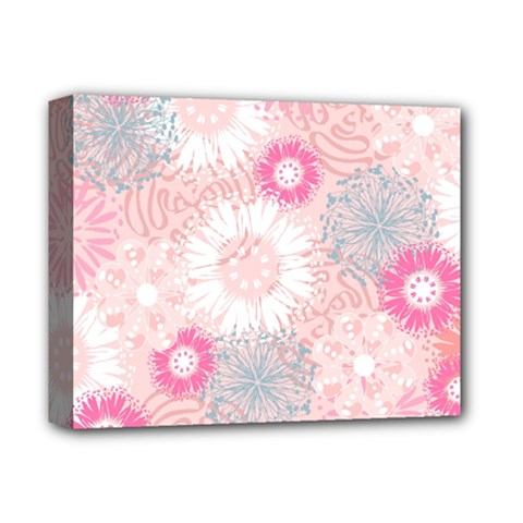 Flower Floral Sunflower Rose Pink Deluxe Canvas 14  X 11  by Alisyart