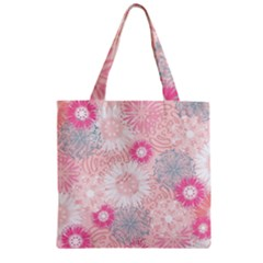 Flower Floral Sunflower Rose Pink Zipper Grocery Tote Bag by Alisyart