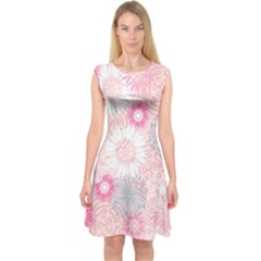 Flower Floral Sunflower Rose Pink Capsleeve Midi Dress