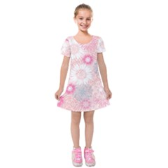 Flower Floral Sunflower Rose Pink Kids  Short Sleeve Velvet Dress