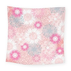 Flower Floral Sunflower Rose Pink Square Tapestry (large) by Alisyart
