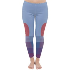 Sunrise Purple Orange Water Waves Classic Winter Leggings