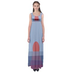 Sunrise Purple Orange Water Waves Empire Waist Maxi Dress by Alisyart