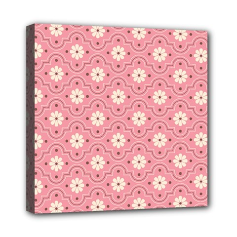 Pink Flower Floral Mini Canvas 8  X 8  by Alisyart