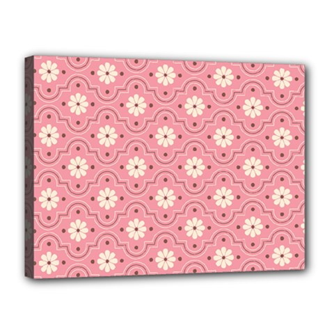 Pink Flower Floral Canvas 16  X 12  by Alisyart