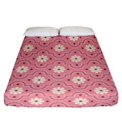 Pink Flower Floral Fitted Sheet (queen Size) by Alisyart