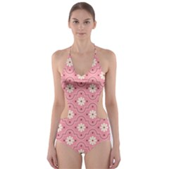 Pink Flower Floral Cut Out One Piece Swimsuit