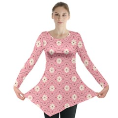 Pink Flower Floral Long Sleeve Tunic  by Alisyart